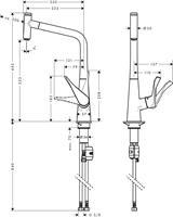 ברז מטבח HANSGROHE סדרת מטריס דגם 14884000 עם פייה נשלפת הכוללת לחצן שליטה
