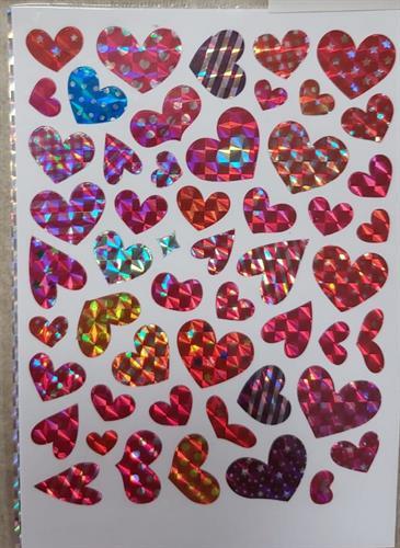 מדבקת נצנצים לבבות 3 דפים