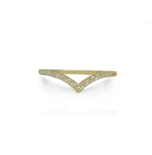 טבעת זהב וי זרקונים