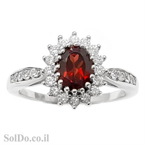 טבעת מכסף משובצת אבן גרנט ואבני זרקון קטנות  RG6008 | תכשיטי כסף 925 | טבעות כסף