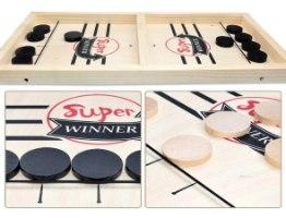 משחק הוקי שולחני דיסקיות מעץ