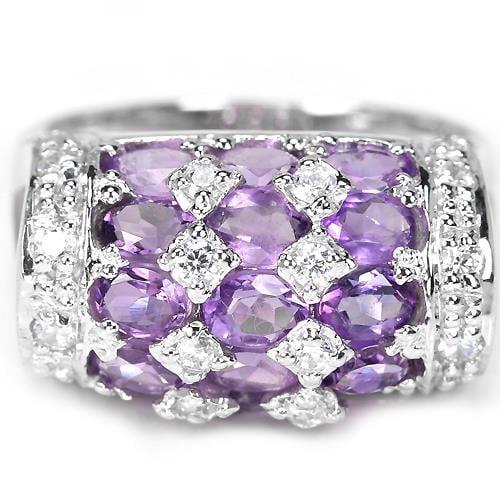 טבעת כסף משובצת אמטיסט סגול וזרקונים RG7611