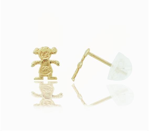 עגילי זהב 14 קרט בסגנון ילדה