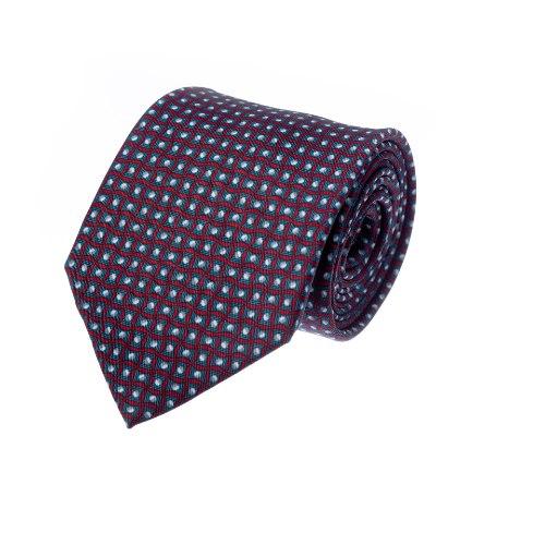 עניבה דגם ריבועים בורדו אפור