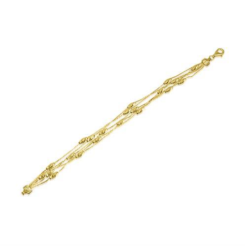 צמיד כדורים זהב בחיתוך יהלום|צמיד לאירוע