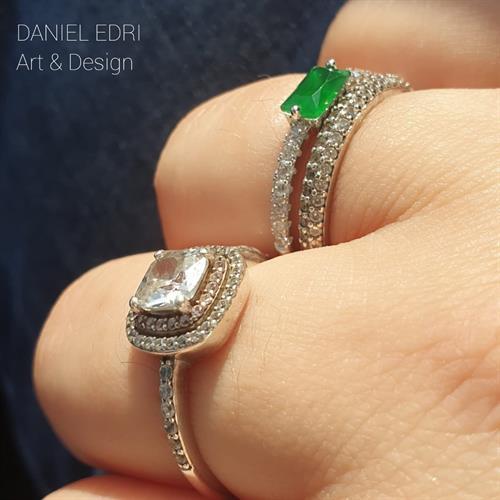 טבעת מלבן ירוק- כסף 925