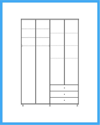 ארון 4 דלתות 4 מגירות דגם שרון