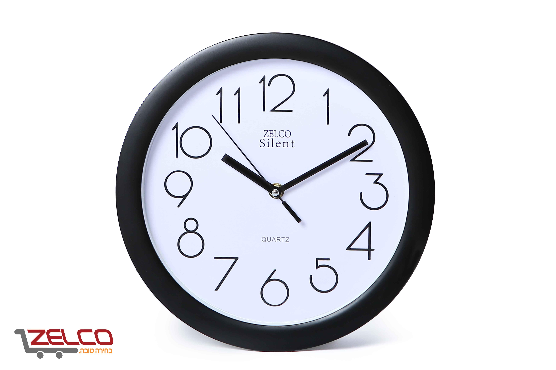 שעון קיר עגול צבע שחור