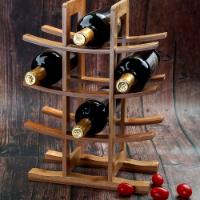 מעמד פגודה דקורטיבי לשמירת יינות עד 12 בקבוקים מבמבוק טבעי