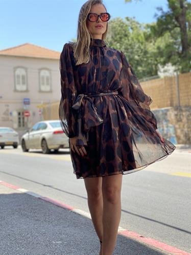 שמלת שיפון מנומרת