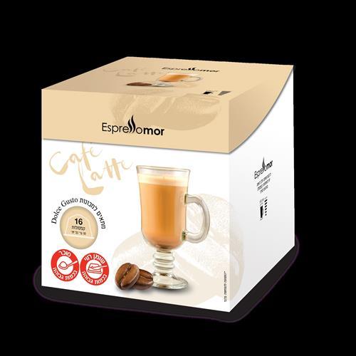 16 קפסולות תואמות דולצה גוסטו Espressomor Caffe Latte Dolce Gusto