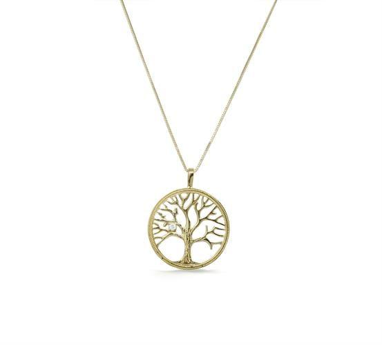 שרשרת בסגנון עץ החיים תליון עץ החיים בשילוב יהלום 4 נק' בזהב