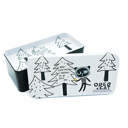 קופסת אחסון מפח - חתול ועצים