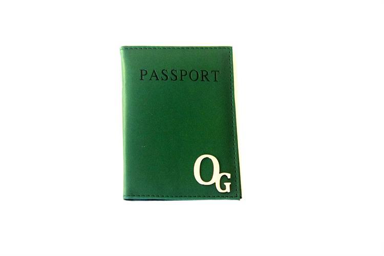 כיסוי לדרכון דמוי עור-ירוק בקבוק