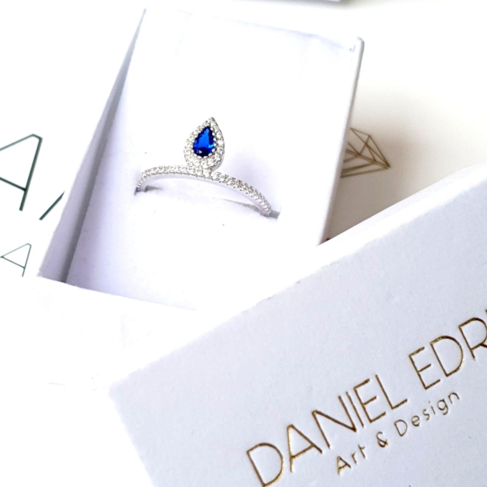 טבעת טיפה כסף-כחול