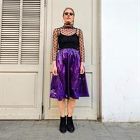 חצאית מניילון יפני - סגול עמוק