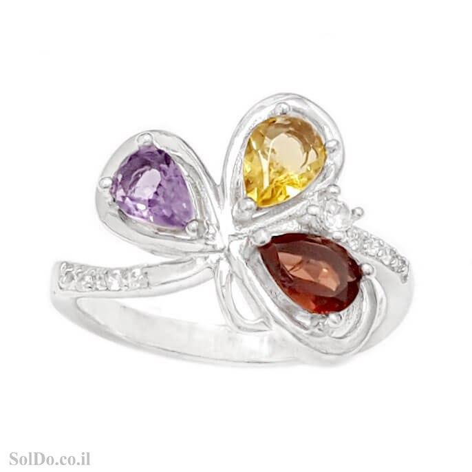 טבעת מכסף משובצת אבני אמטיסט, גרנט וסיטרין RG9025   תכשיטי כסף 925   טבעות כסף