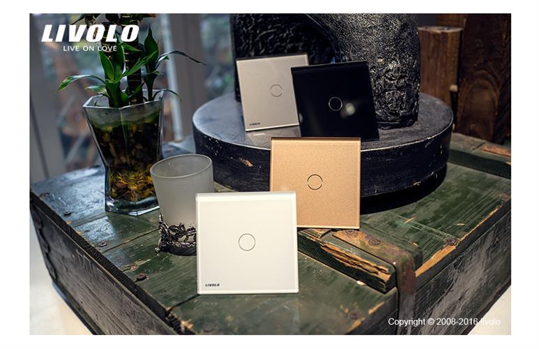 מפסק טאצ' Livolo זכוכית קריסטלית 4 גוונים לבחירה 1 מפסק אינדיקציית לד