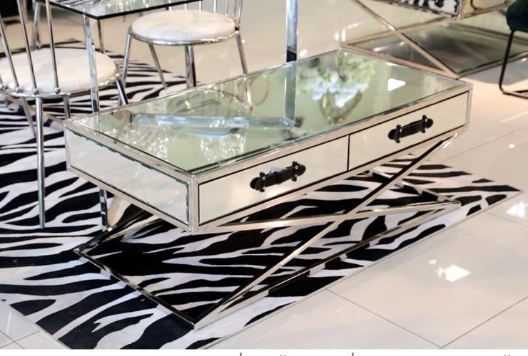 שולחן סלון מלבני רגליים נירוסטה