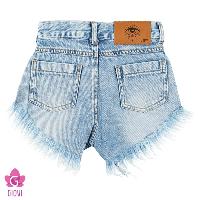 שורט ג'ינס קרעים כחול
