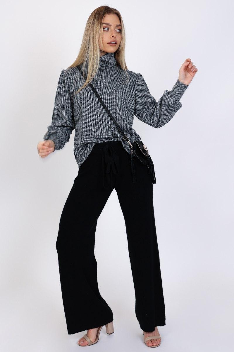מכנס סריג שחור/כאמל/לבן