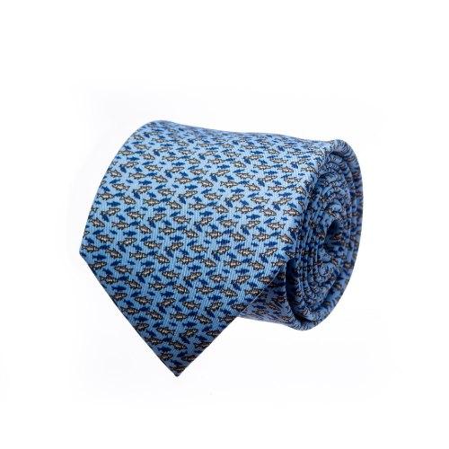 עניבה דגם דגים תכלת