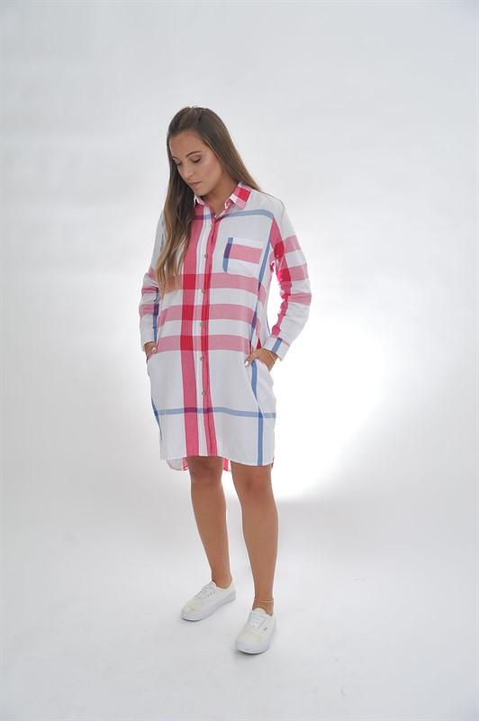 שמלת משבצות כפתורים one size