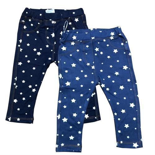 זוג טייצים דמוי ג'ינס כוכבים כחול ונייבי