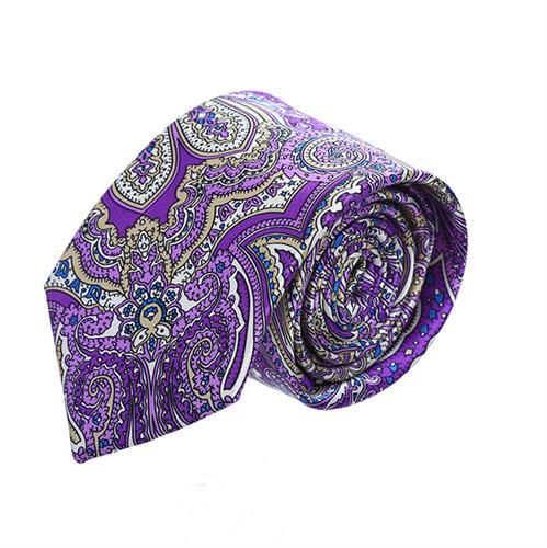 עניבה פייזלי סגול צבעוני