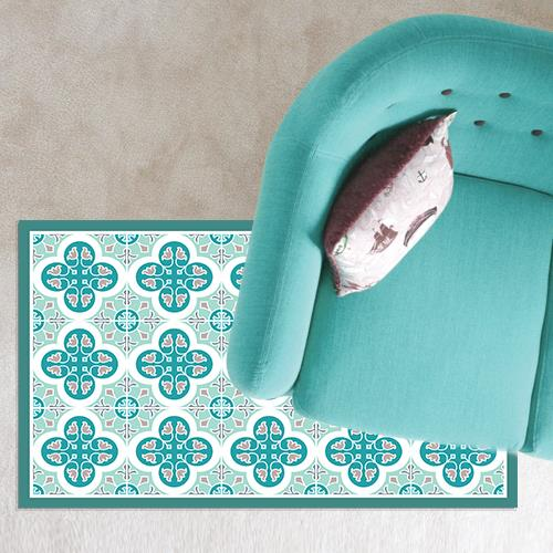 שטיח PVC ויניל לעיצוב הבית - טורקיז