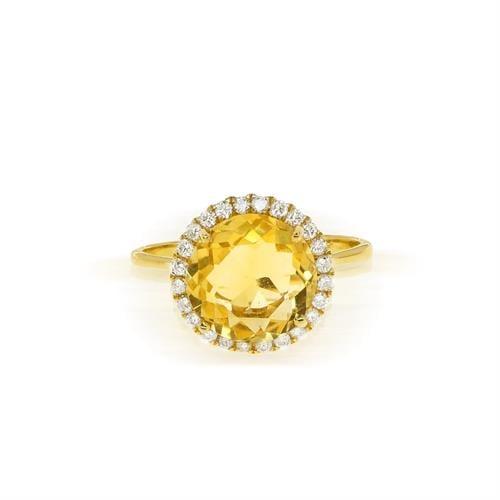טבעת זהב 14 קרט משובצת אבן סיטרין ויהלומים 0.25 קראט