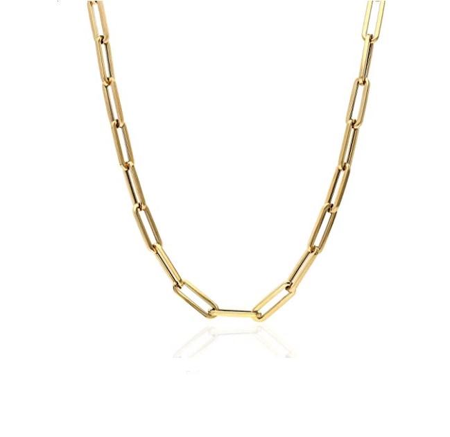 שרשרת זהב חוליות אובלי דגם אטב 40 סמ