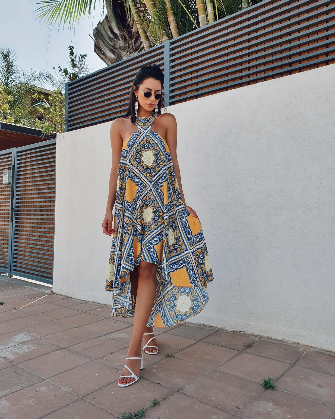 שמלת אמילי אסימטרית - אתנית