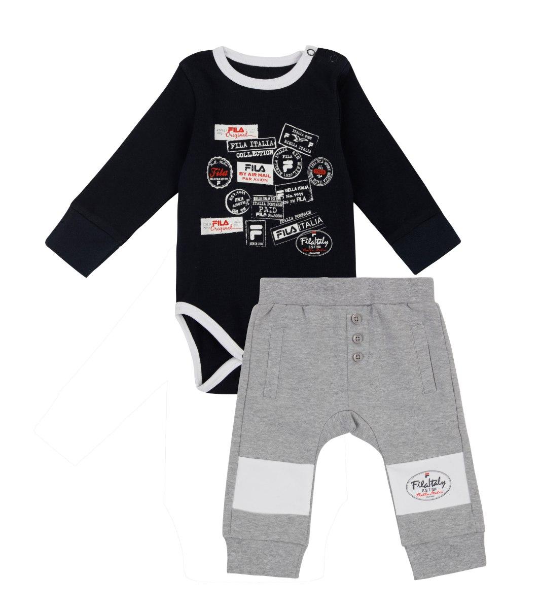 חליפת בייבי בנים כחול/אפור FILA תינוקות - מידות NB עד 12 חודשים