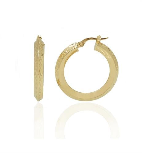 עגילי זהב חישוק מרוקע בקוטר 2.8 סמ
