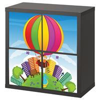 4 יח' טפט להדבקה על דלת כוורת (KALLAX)- כדור פורח צבעוני