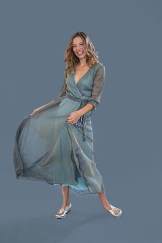 שמלת ערב מקסי ירוקה