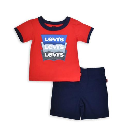 חליפת LEVIS אדום/כחול - 0-24 חודשים