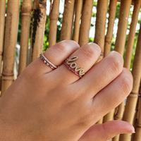 טבעת זרת זרקונים צבעוניות בזהב 14 קרט