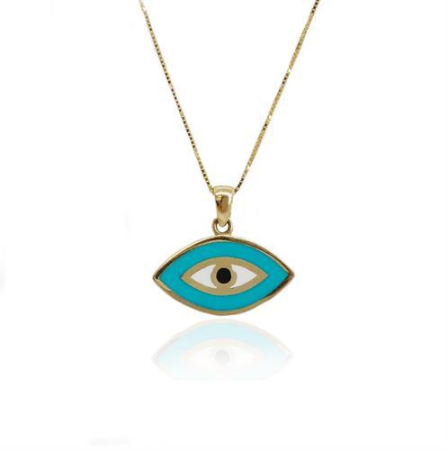 שרשרת עין זהב אמייל צבעונית מלוכסנת