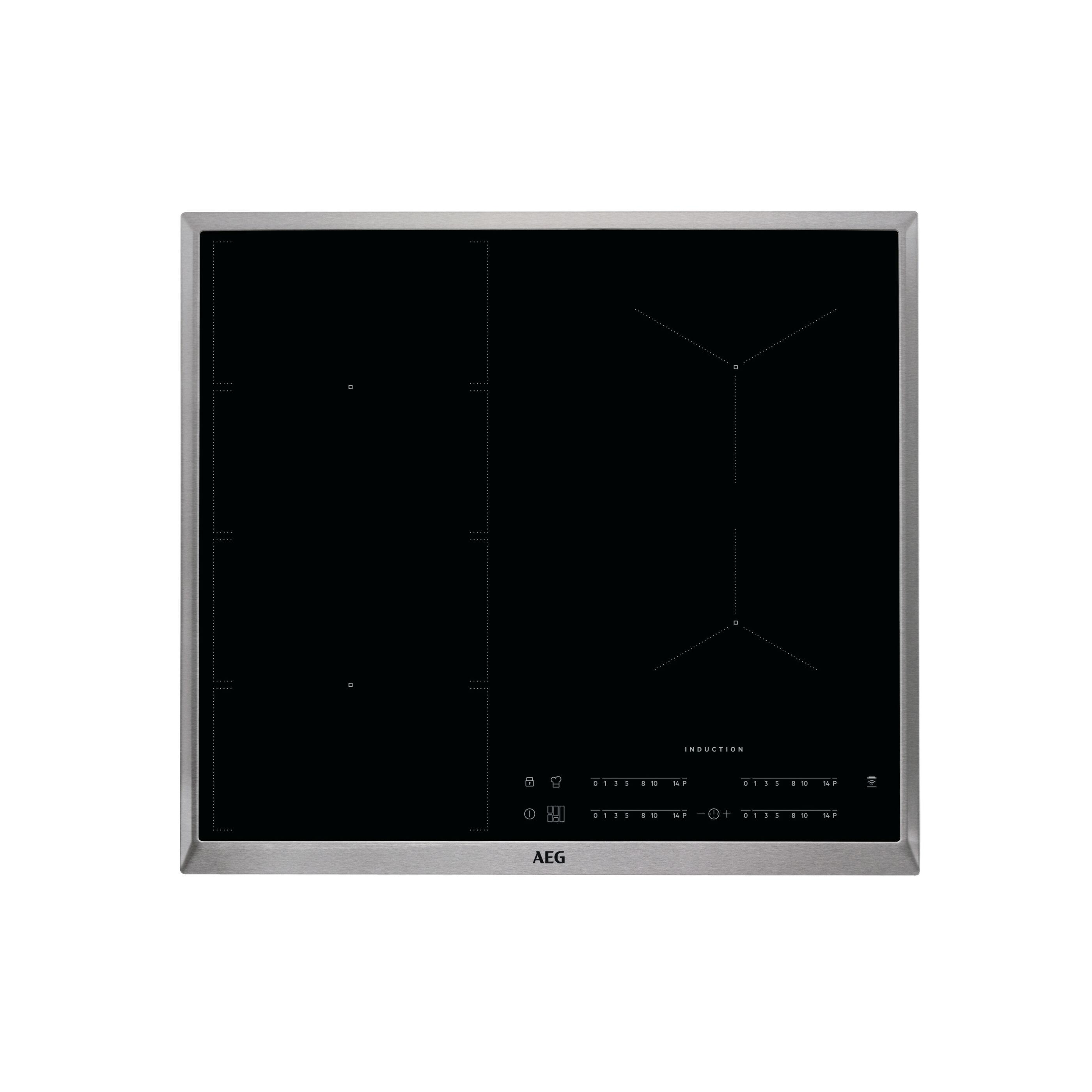 כיריים אינדוקציה AEG ike 64471 משטח גמיש מלא מסגרת נירוסטה