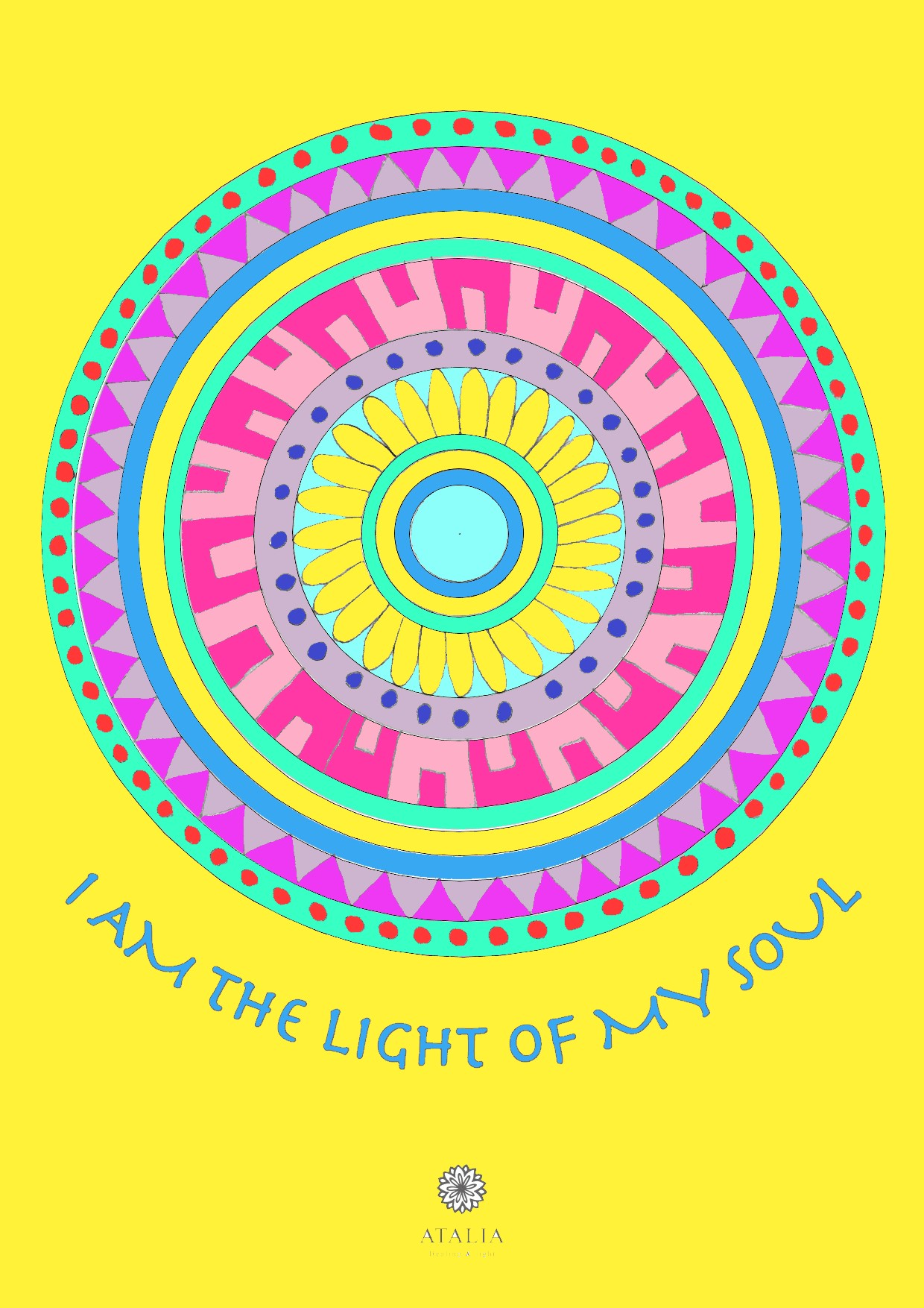 דפי מנדלות לצביעה - I AM THE LIGHT OF MY SOUL