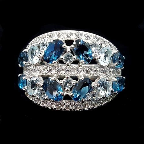 טבעת כסף משובצת טופז כחול ואבני זרקון לבנות RG5684 | תכשיטי כסף 925 | טבעות כסף