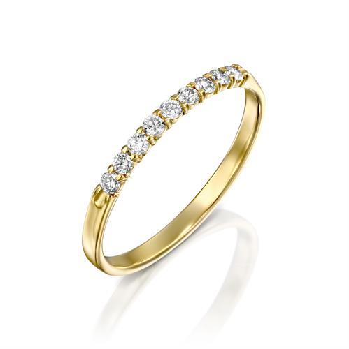 טבעת השביל הקסום משובצת יהלומים בזהב לבן או צהוב 14 קראט