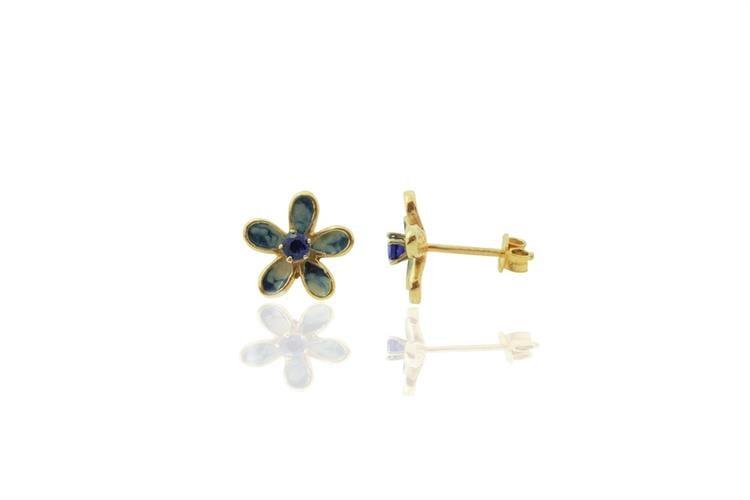 עגילי זהב 14 קרט בסגנון פרח עם זרקון ספיר