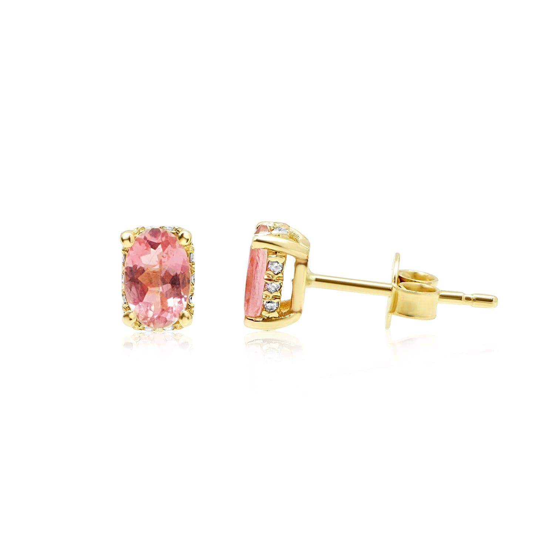 עגילי זהב יהלומים ואבן חן טורמלין טבעית