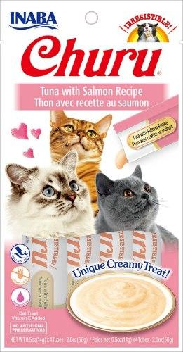 חטיף לחתולים אינאבה צ'ורו טונה וסלמון 56 גרם - INABA CHURU TUNA SALMON 56G