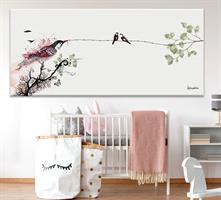 ציור ציפורים בסלון