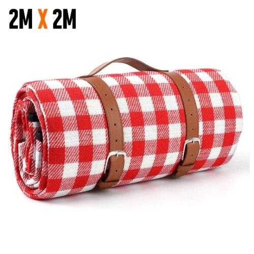שמיכת פיקניק פרימיום 2X2 - אדום לבן
