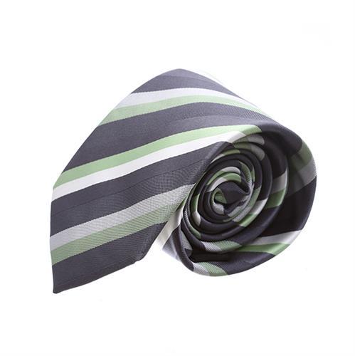 עניבה פסים שחור ירוק משולב